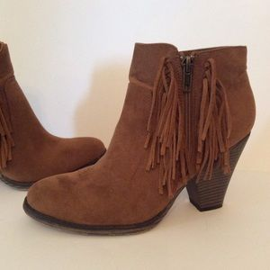 Ankle Boots Suede Fringe Cognac Brown Chunky 8.5